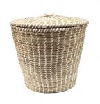Basket with lid Grass Beige deco Hg37xø40/30cm