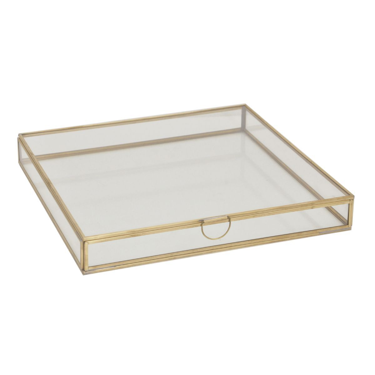 box handmade of brass with transparant glass square 31x31 hg 4cm