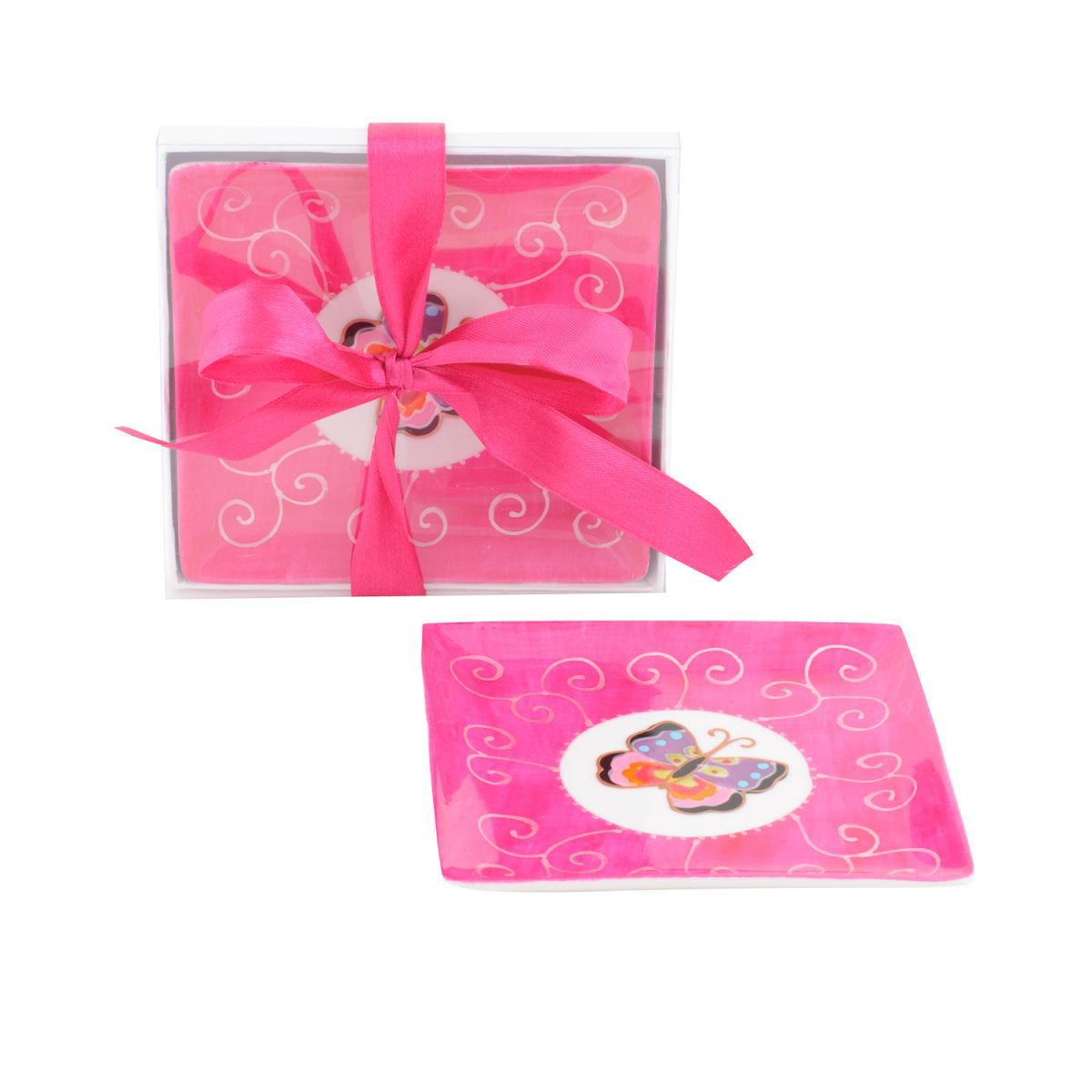 butterfly plate square pink12 x 12 cm