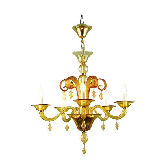 chandelier roma 5arm amber hg 60 74 cm