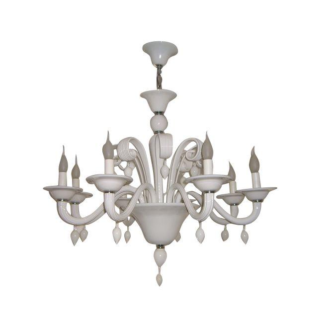 chandelier roma 8arm white hg 62 88 cm