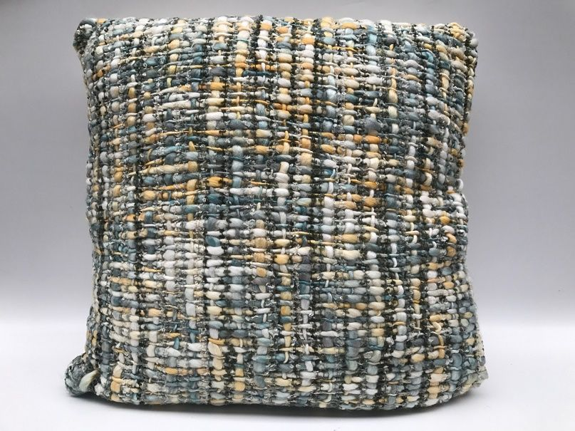cushion acrylic in yellow pastel and grey tones 50x50cm