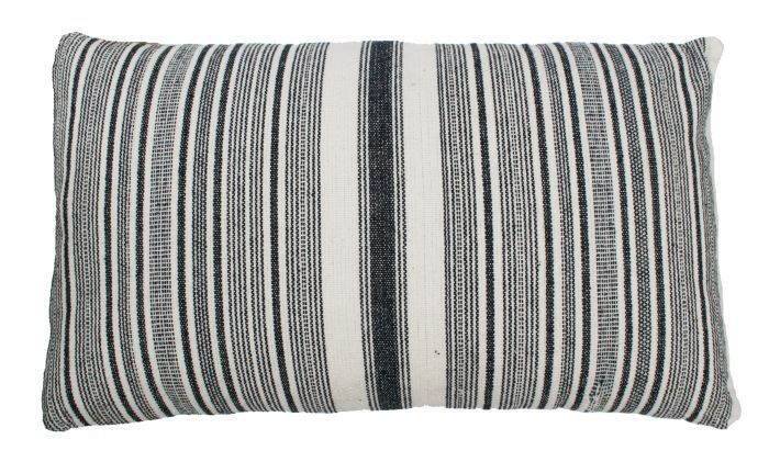 cushion cotton indigo blue ivory lines 50x30cm