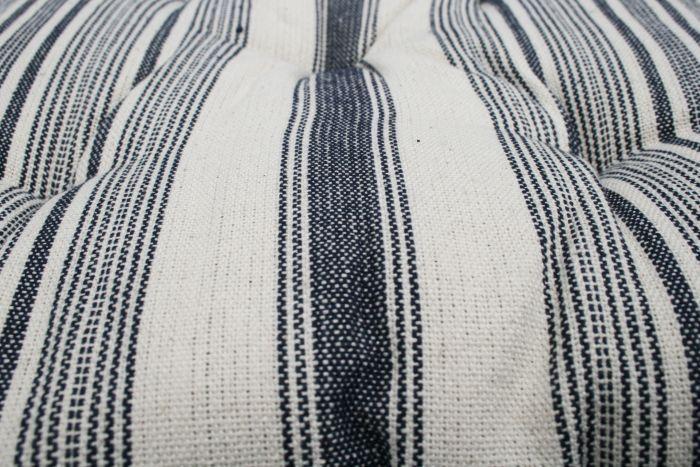 cushion cotton indigo blue lines ivory 40x40cm
