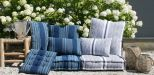 cushion cotton indigo blue lines ivory 50x50cm