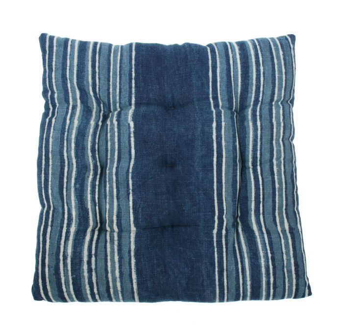 cushion cotton indigo blue lines white 40x40cm