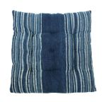 Cushion Cotton Indigo Blue Lines White 40x40cm