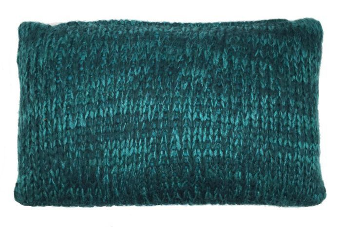 cushion knitted petrol 50x30cm