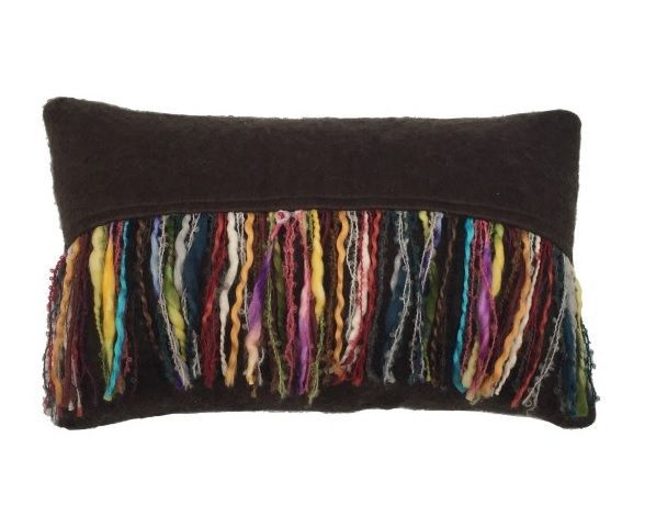 cushion mohair brown with multi fringe 50x30cm