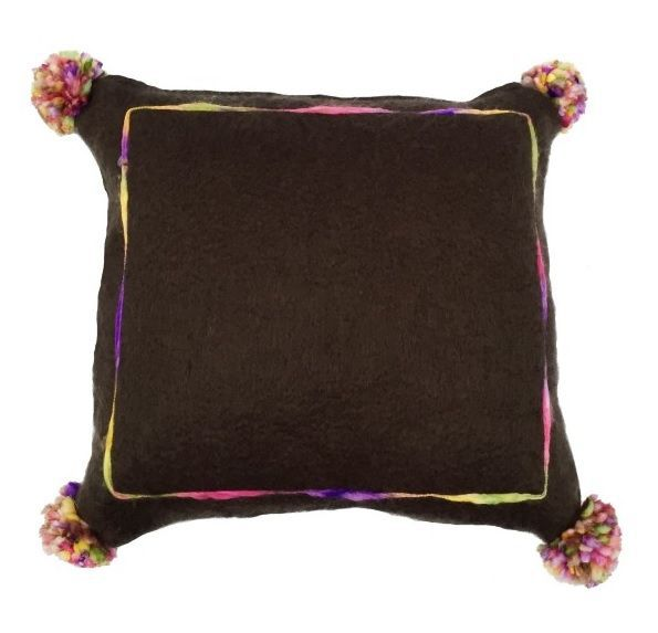 cushion mohair brown with multi pompon 50x50cm