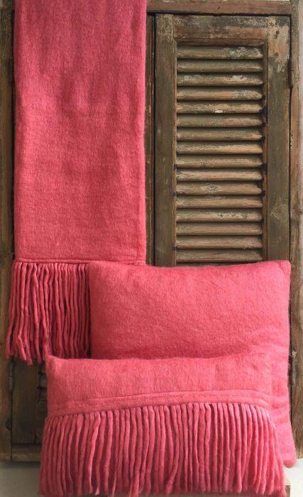 cushion mohair coral pink 50x50cm