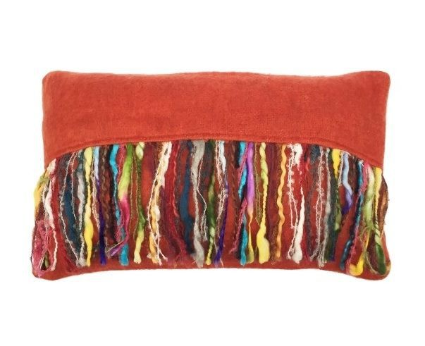 cushion mohair orange with multi fringe 50x30cm with filler