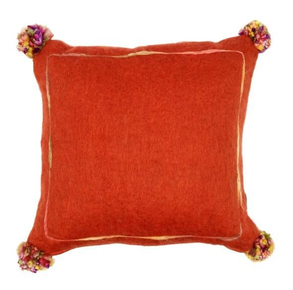 cushion mohair orange with multi pompon 50x50cm with filler