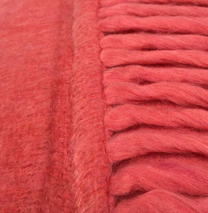 cushion mohair with fringes coral pink 50x30cm