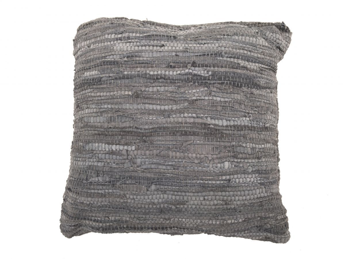 cushion recycled leather stonegrey 45x45cm double sided