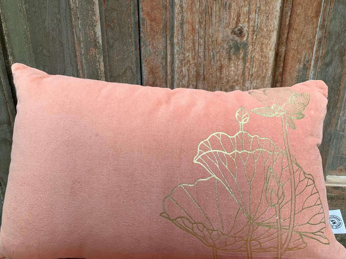 cushion velvet old pink print lotusflower gold 50x30cm