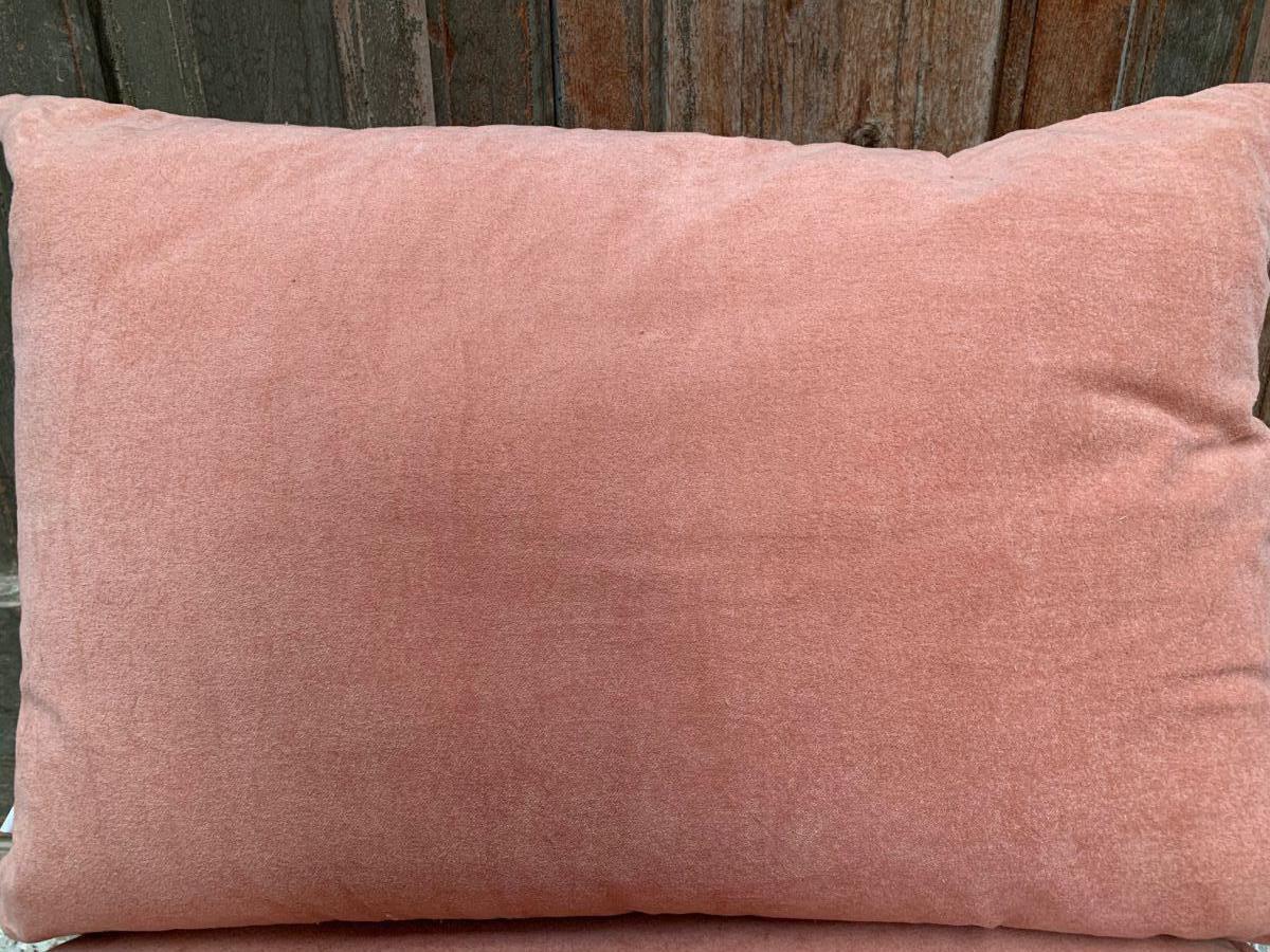 cushion velvet old pink print lotusflower gold 50x30cm