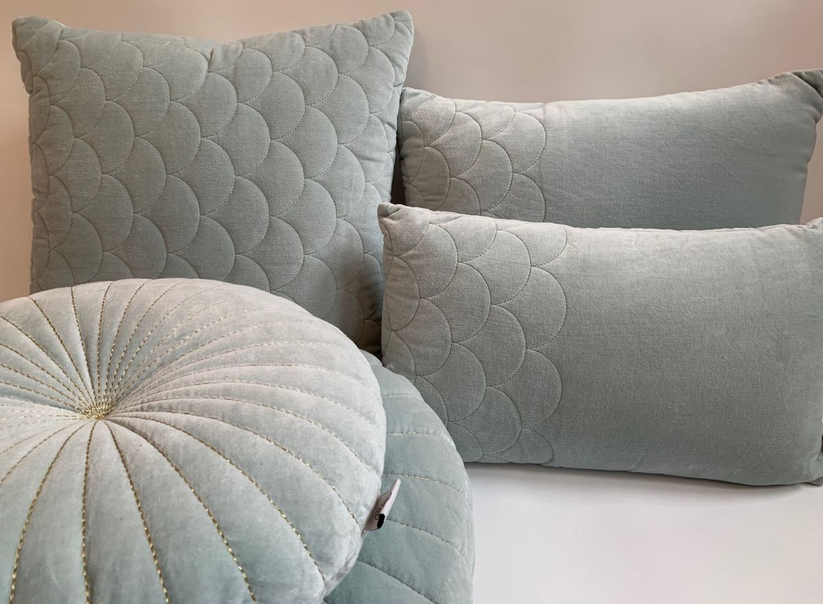 cushion velvet pale aqua fish skin pattern 50x30cm