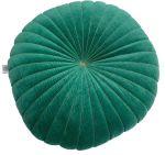 Cushion velvet round 40 cm Bottle Green with gold stitching both sides