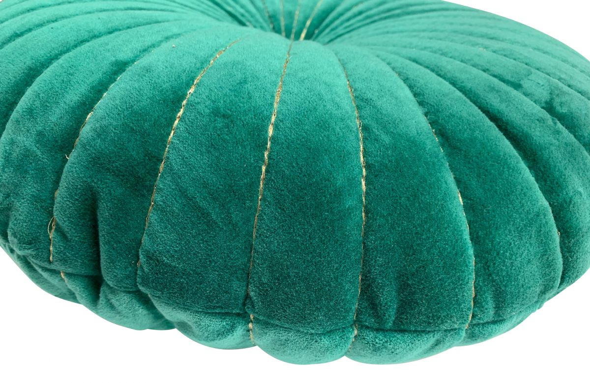cushion velvet round 40 cm bottle green with gold stitching both sides