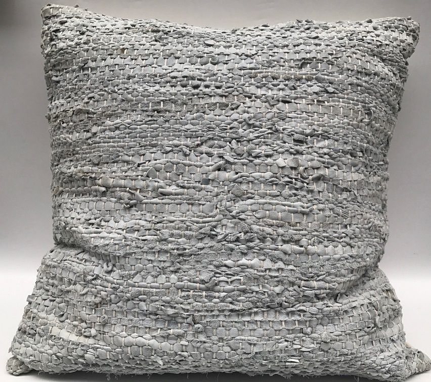 cushion woven leather light grey 60x60cm
