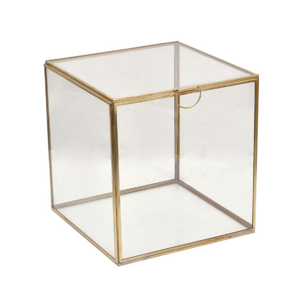 decoratie doos glas goud tint met deksel 16x16xh16cm