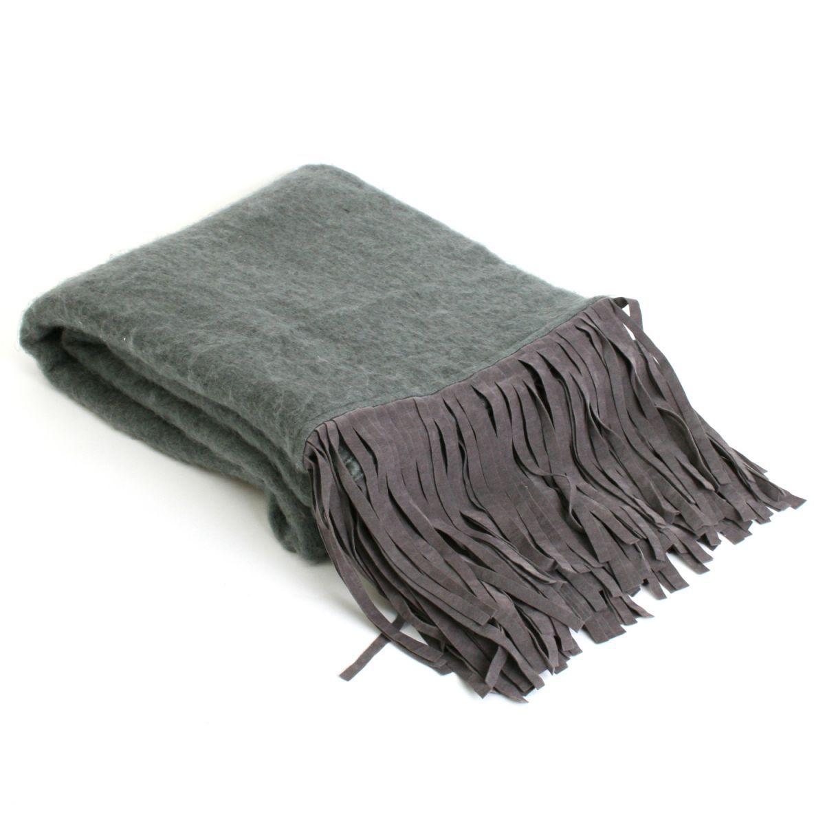 deken antraciet grijs met franjes suedine 130x170cm