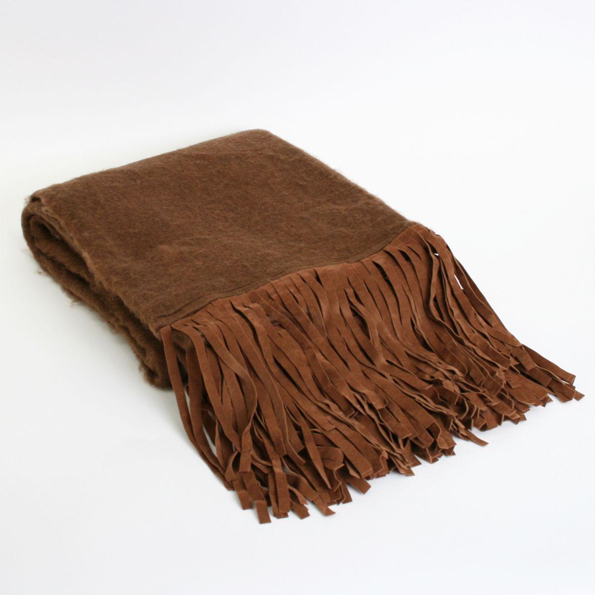 deken bruin met suedine franjes 130x170cm
