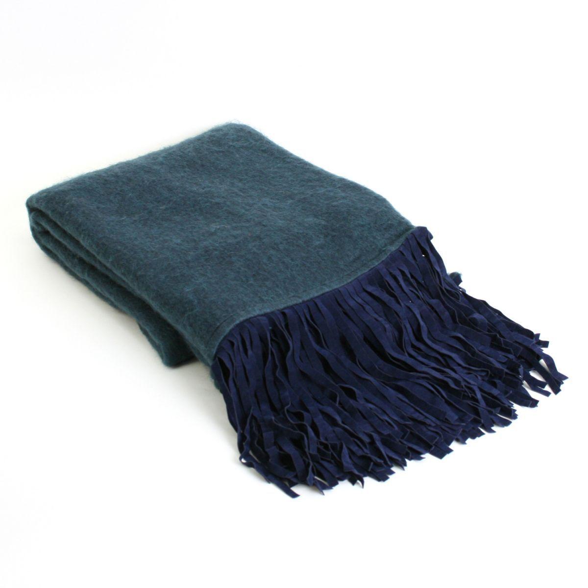 deken donkerblauw met suedine franjes 130x170cm