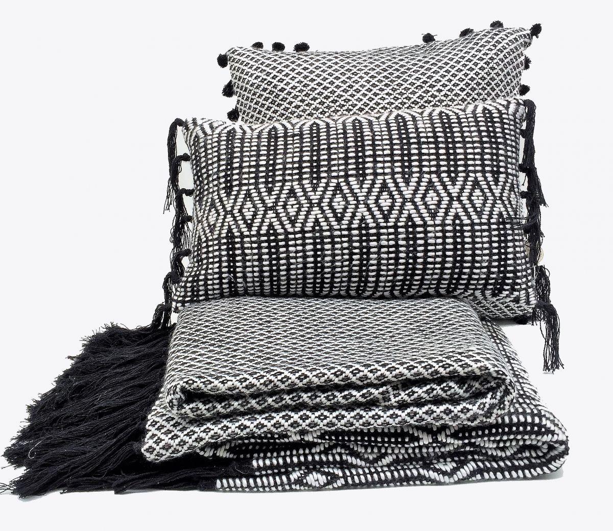 deken met franjes ruitje zwart wit 125x150cm