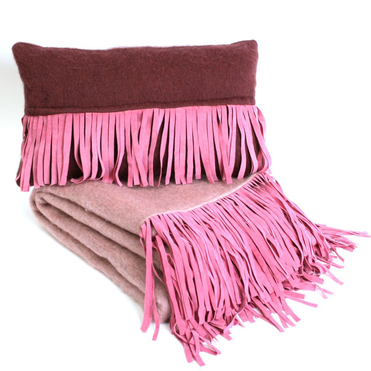 deken roze met suedine franjes 130x170cm
