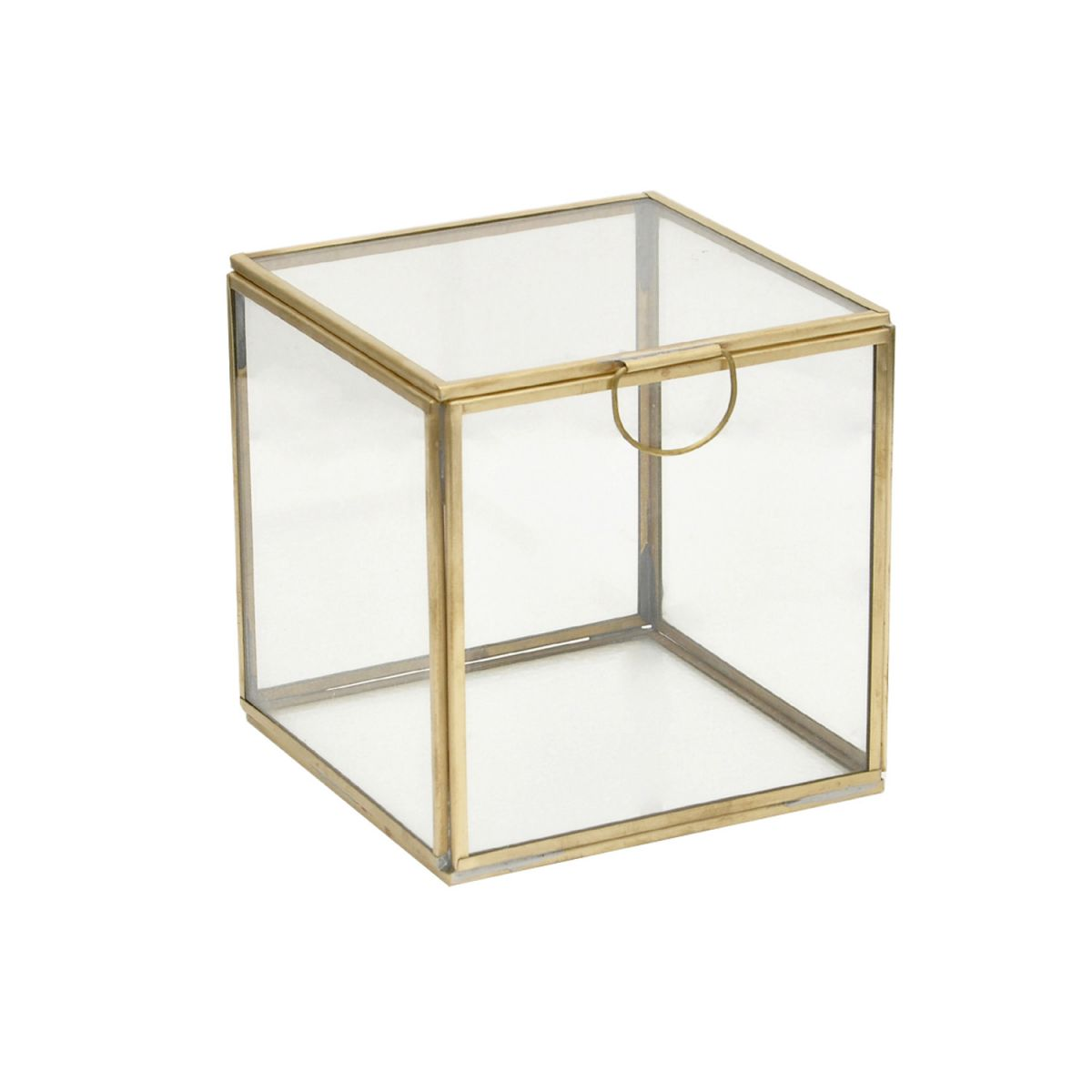 displaybox glas en messing 13x13x13cm
