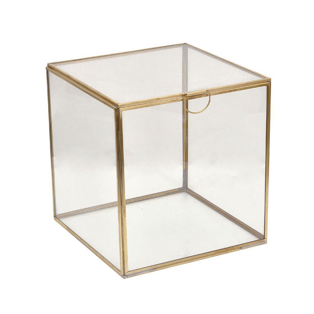 rocaflor opbergboxglasmetmessing20x20x21cm