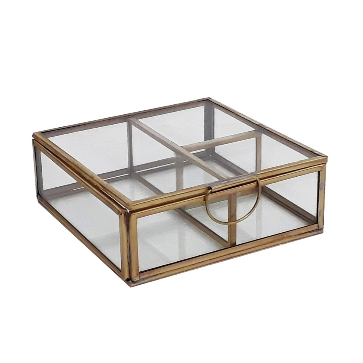 rocaflordisplaybox met vakken vierkant glas messing 13x13x45cm