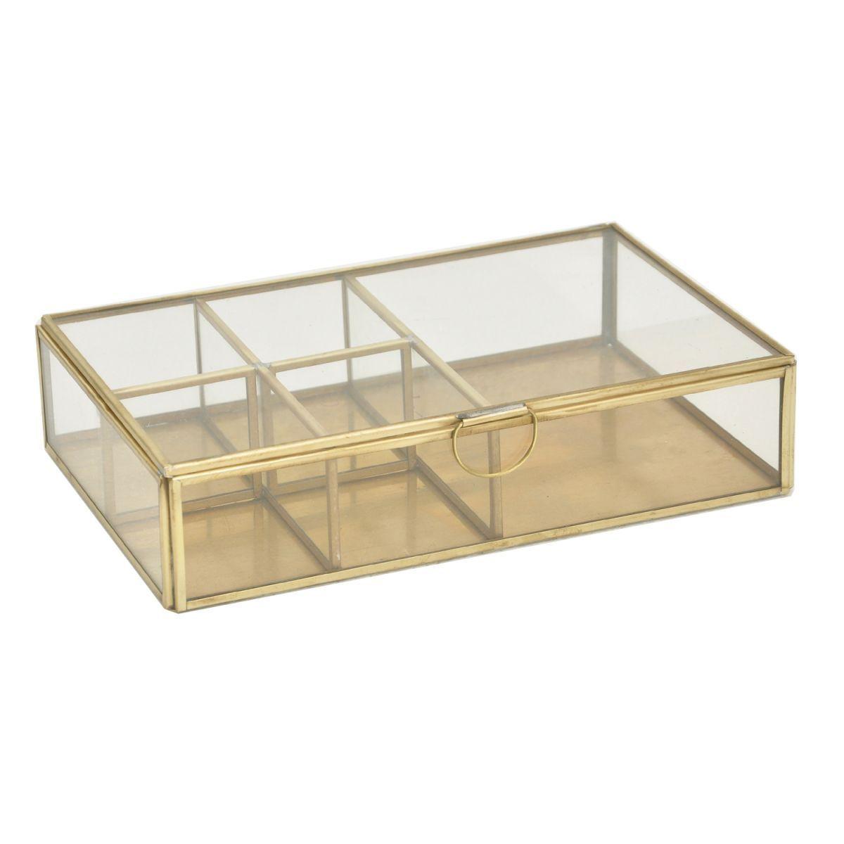 displaybox rechthoek met vakken glas messing 25x16x6cm