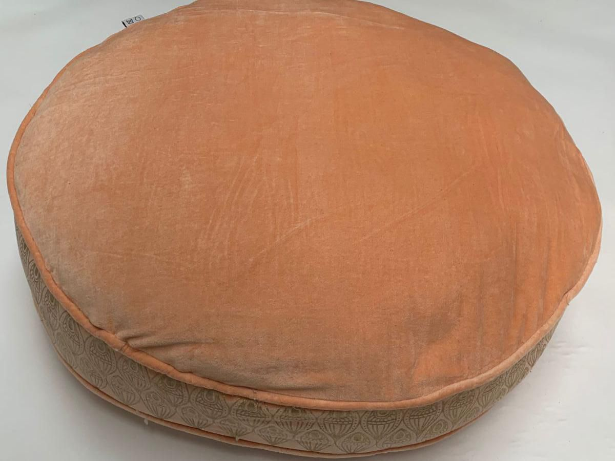 floorcushion round velvet peach print gold lotus 70hg12cm