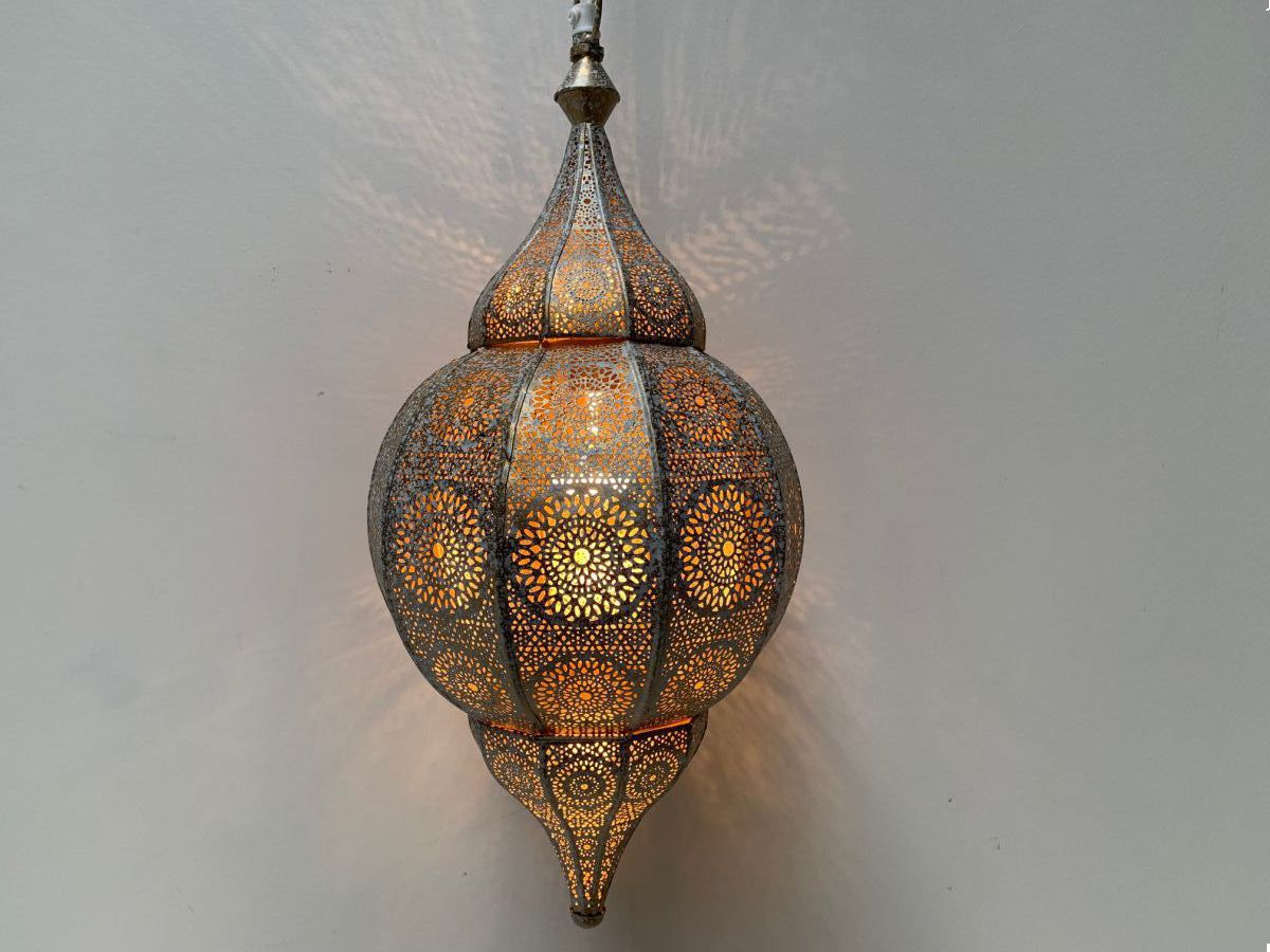 hanglamp oosters filigrain metaal wit goud hg 48 22 cm