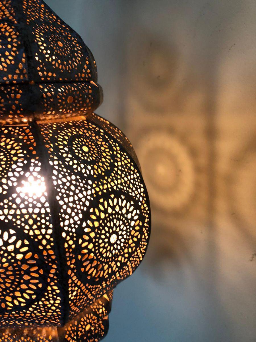 hanglamp oosters filigrain metaal zwartkoper hg 33 19 cm