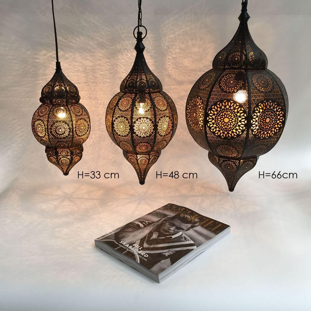 hanglamp oosters filigrain zwart goud hg 66 32 cm