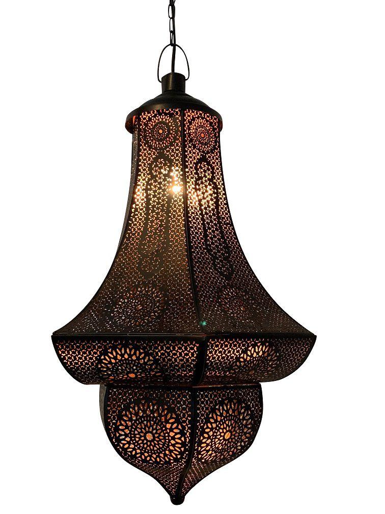 hanglamp oosters filigrain zwart koper hg 50 dia 30 cm