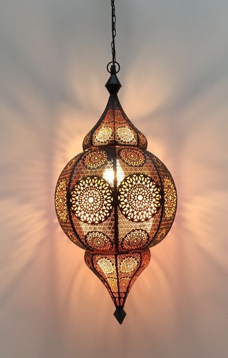 hanglamp oosters filigrain zwart koper hg 66 cm 32 cm