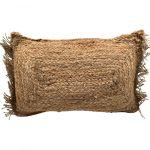 Kussen jute naturel geweven franje 50x30cm