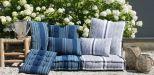 kussen katoen indigo blauw streep wit 60x60cm