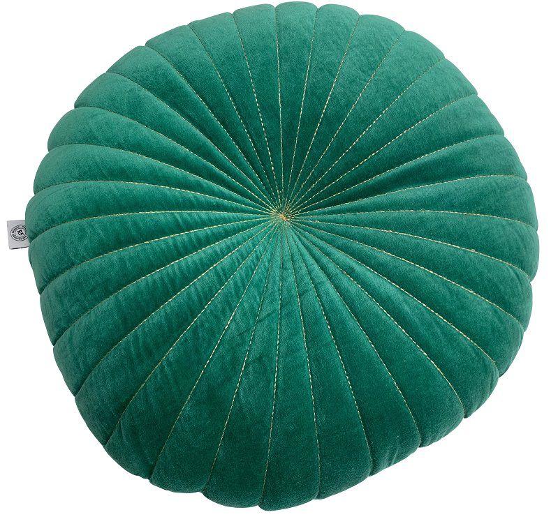 kussen velours emerald groen met gouden stiksel 40cm