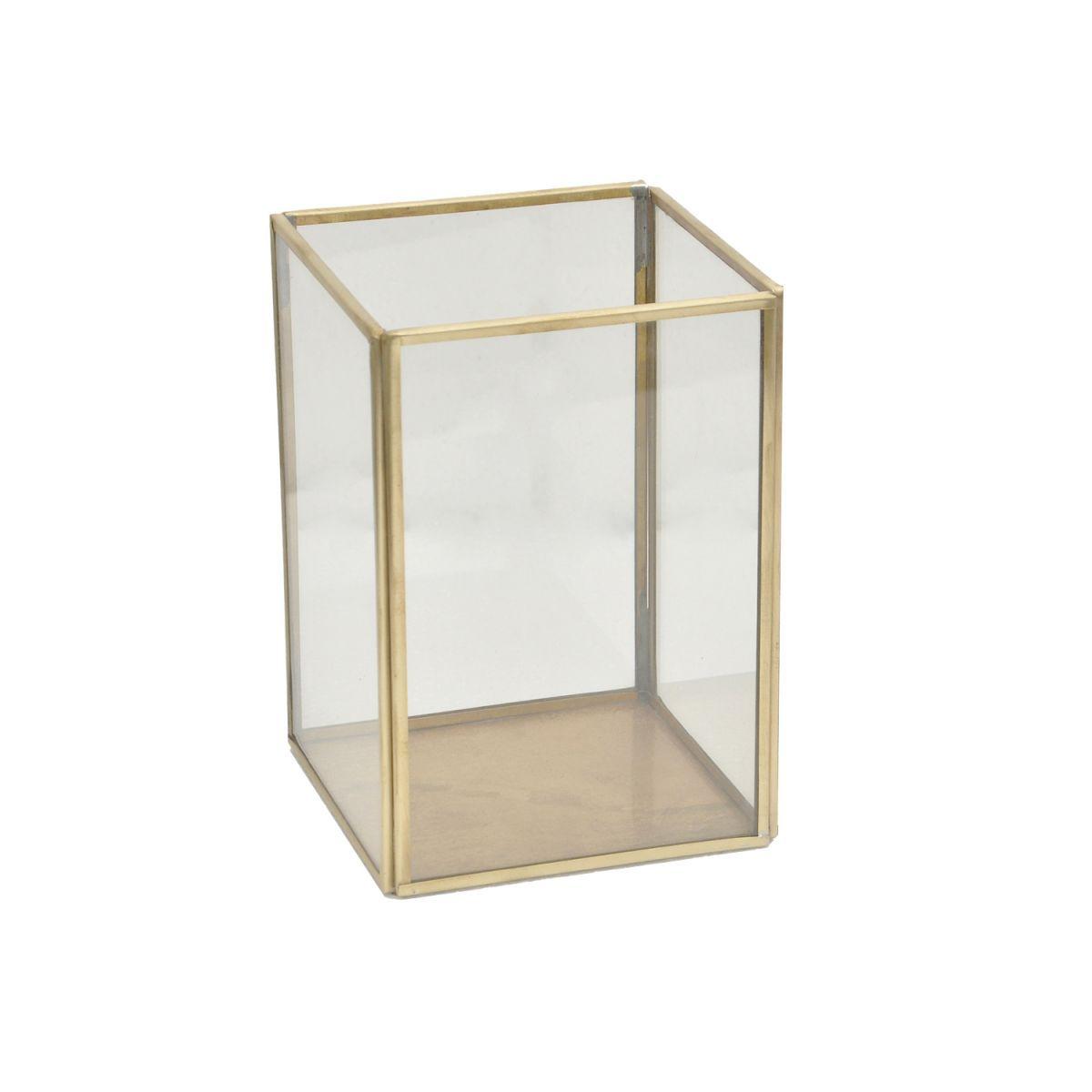 lantaarn glas vierkant messing tint 11x11 hg 155cm