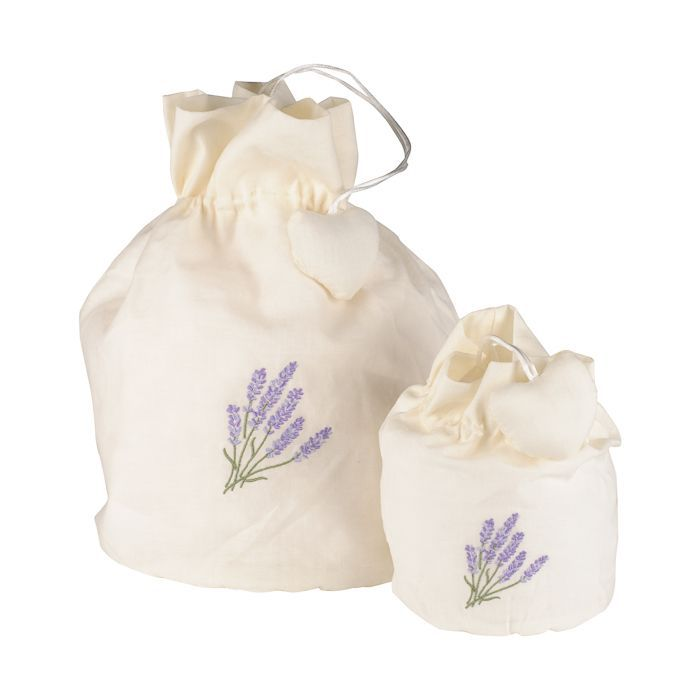 lavender linen bag wembroidery small