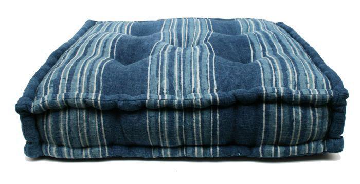matraskussen katoen indigo blauw streep wit 60x60cm