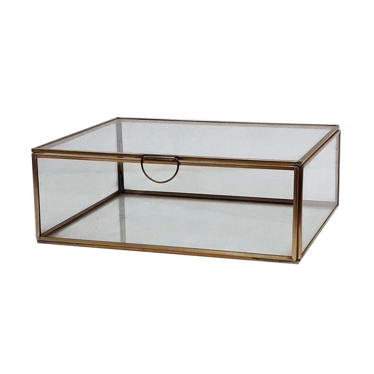 opbergdoosje rechthoek met messing en glas 335x21x95cm