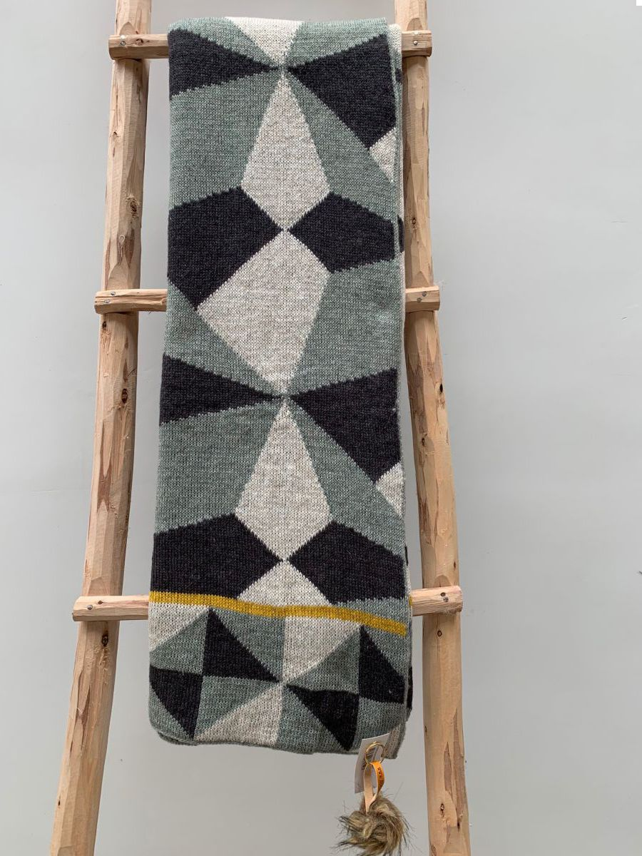 plaid grafisch grijs okergeel wol