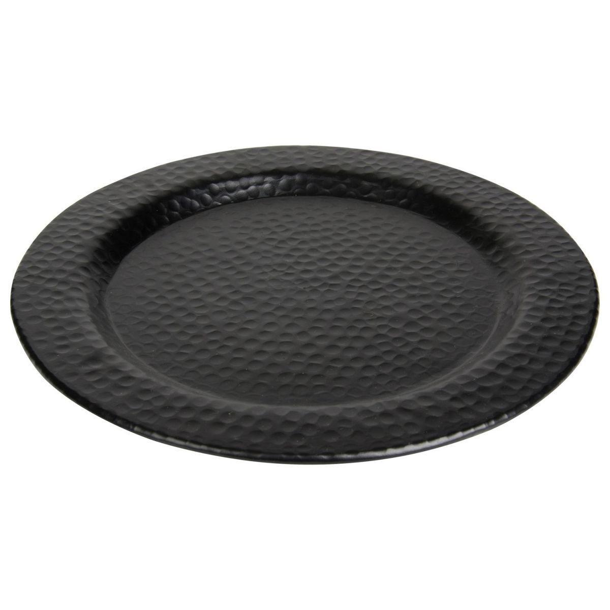 bord rond gehamerd zwart mat 39cm
